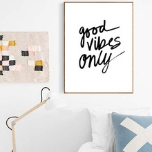 Wall Art Poster Good Vibes Only Canvas Nordic Paintings Black White Quotes Nursery Print Pictures For Kids Room Home Decor