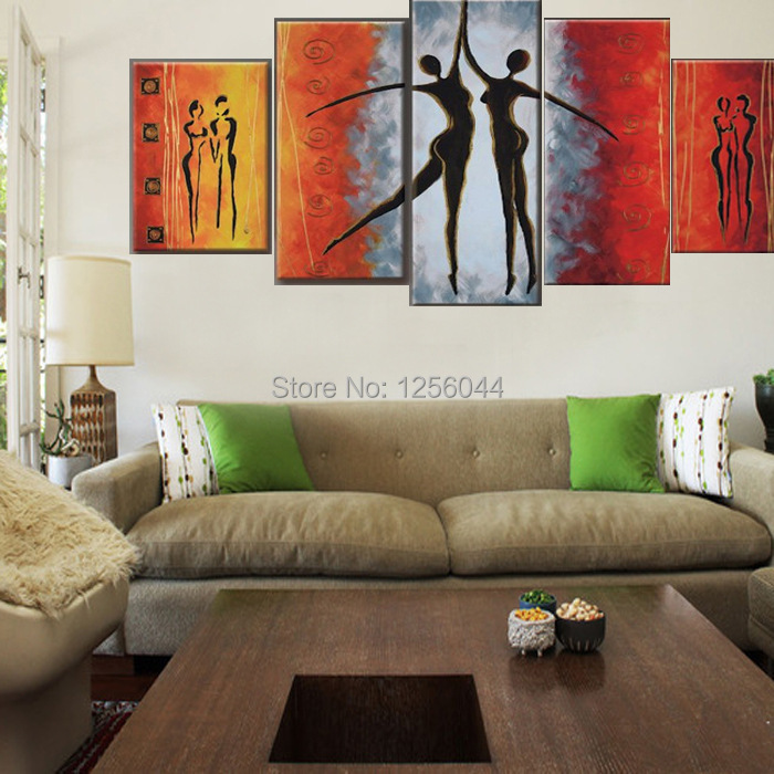 100% Hand painted Red Black Passion Color High Q. Home Decoration Modern Abstract Best selling Oil Painting on Canvas 4pcs/set - 2