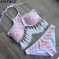 ZMTREE Bikini High Neck Tassel Swimwear Women Bikini Set Sexy Bandage Bathing Suits Push Up Swimsuit