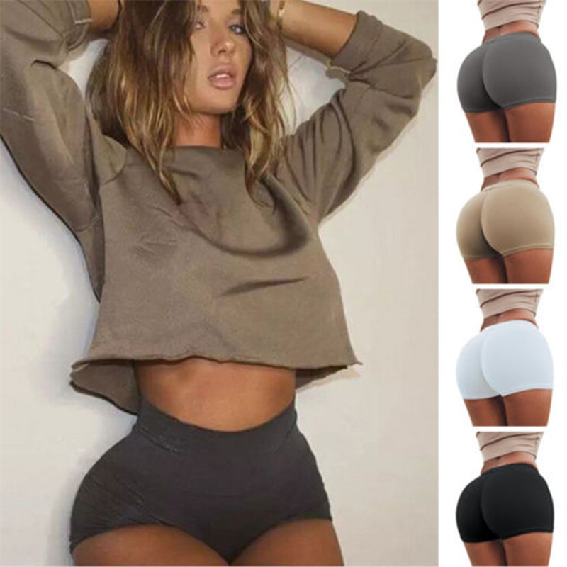 New Sexy Women Bodycon Summer Hot   Shorts   Solid Color High Waist Fold Over   Shorts   Hot Summer Clothes