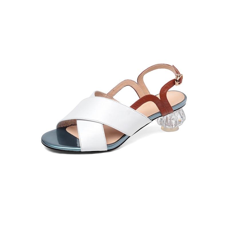 MORAZORA 2019 grande formato 46 sandali di cuoio genuino scarpe da donna colori misti sandali estivi tacchi di cristallo del partito del vestito scarpe donna-in Scarpe col tacco medio da Scarpe su  Gruppo 3