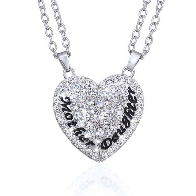 Broken Heart Mother And Daughter Rhinestone Pendant Necklaces