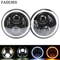 FADUIES 1Pair 7Inch LED Headlight With White Halo Ring Angel Eyes+Amber Turning Signal Light For Jeep Wrangler JK TJ CJ 07 16