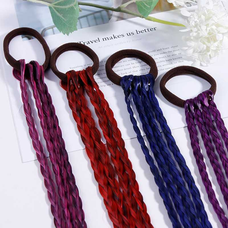 Women Girl Hair Rope Gradient Color Twist Braid Wig Ponytail Holder Rubber Band
