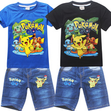 Pikachu POKEMON Ball Clothing Set Kids T-shirt + jean for Baby boys Girls Cartoon Dog printing Costume Sport Suit Summer Clothes