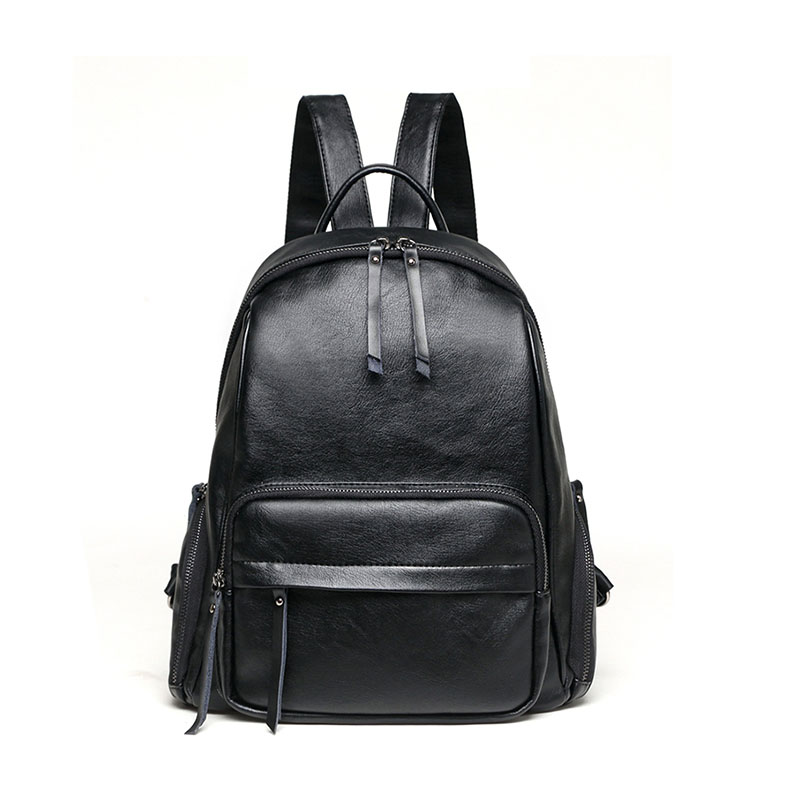 New solid color zipper Cow Leather bags female Korean leisure wild trend star with the same belt decorative backpack student bagNew solid color zipper Cow Leather bags female Korean leisure wild trend star with the same belt decorative backpack student bag