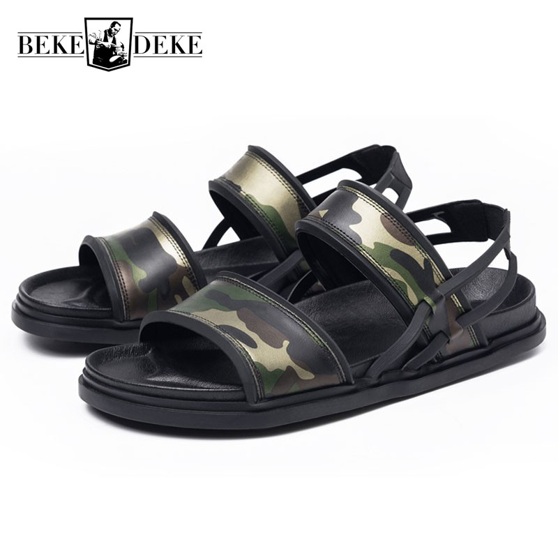 Men Sandals 2019 Summer New Camouflage Real Leather Open toed Slippers Indoor Top Quality Leather Beach