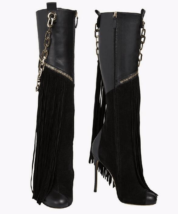 Hot selling metal chains decoration black knee boots super stiletto high heels long tassels winter boots for woman size 35-42