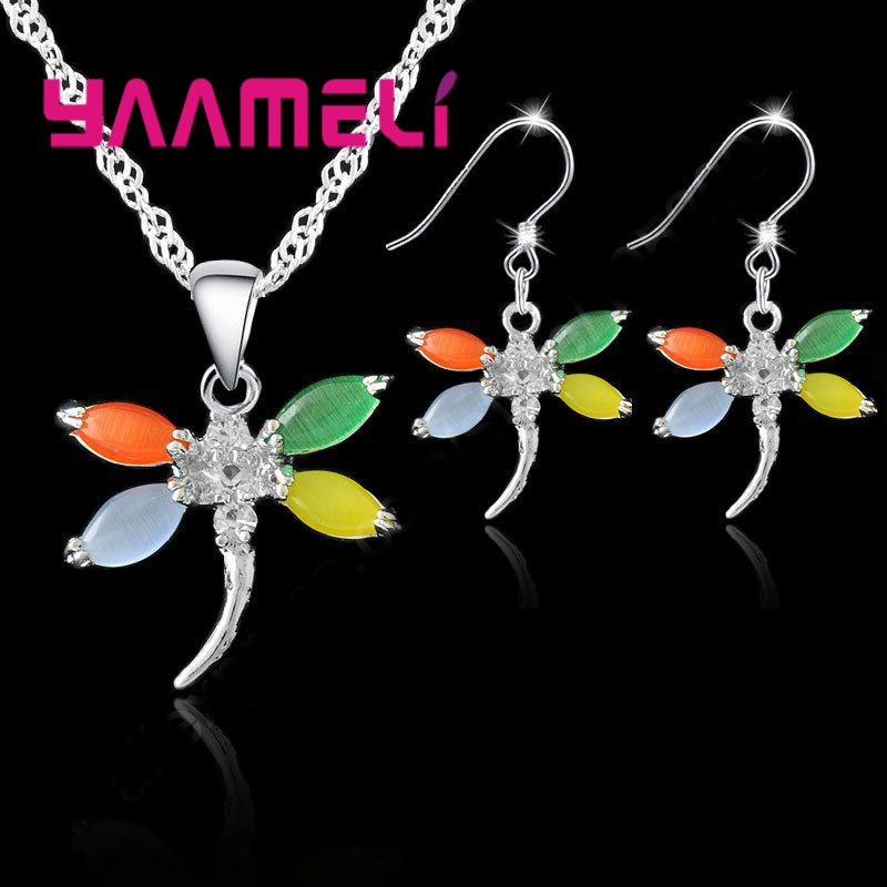 Dragonfly Opal Necklace Hook Earrings Jewelry Sets 925 Sterling Silver Opal Pendant Earrings Sets