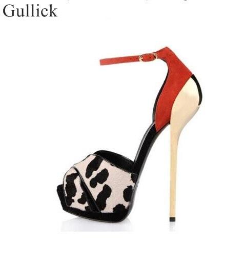 Sexy Leopard Suede Leather Gold Metal Heel Pump Peep Toe Ankle Strap Cut-out Women Dress Shoes High Platform Women Pumps