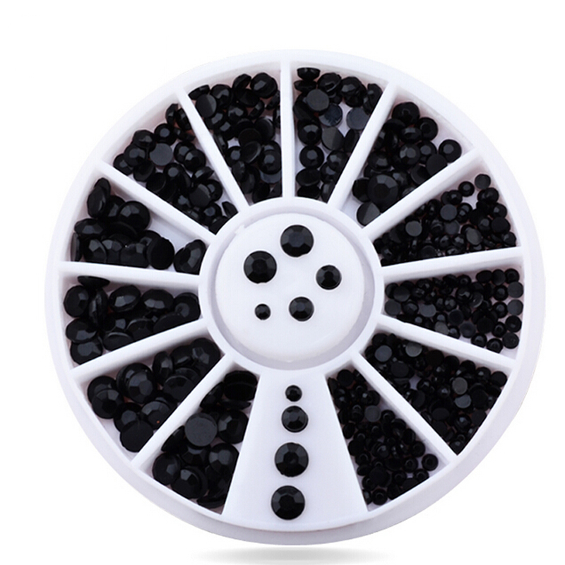 2016 Mix 4 Sizes Black 3D Nail Art Rhinestone Pearls Acrylic Flatback Nail Tips Sticker Decoration Wheel DIY Beauty Makeup Tools 10pcs pack 2mm mix colors rolls metallic adhesive striping tape wide line diy nail art tips strip sticker decal decoration kit