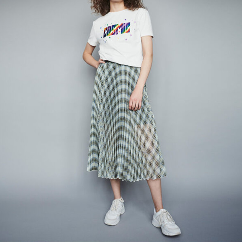 New Women long skirt 2019 Autumn and Wnter plaid pleated ladies casual Skirts