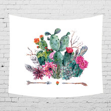 Watercolor Cactu Custom Tapestry Wall Hanging Wall Tapestry Blanket Living Room Bedroom Farmhouse Decor 100% Polyester(China)