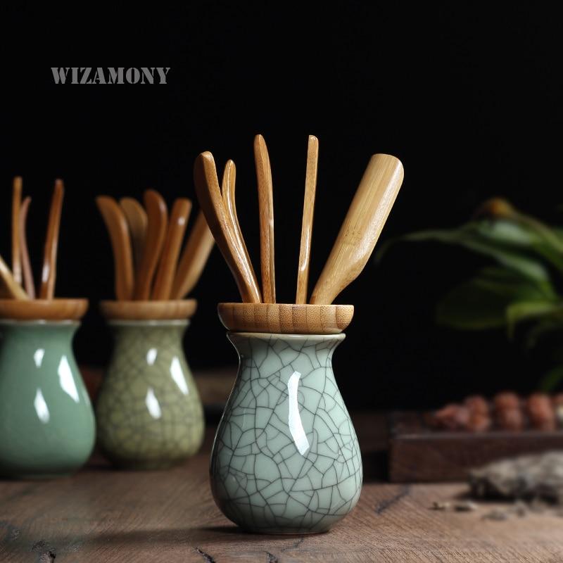 Қытайдан жасалған классикалық шай аксессуарлары Celadon шай Scoop инесі Digg кунгфу шәйнегі Шайдан жасалған табиғи бамбуктың алты мырзасы
