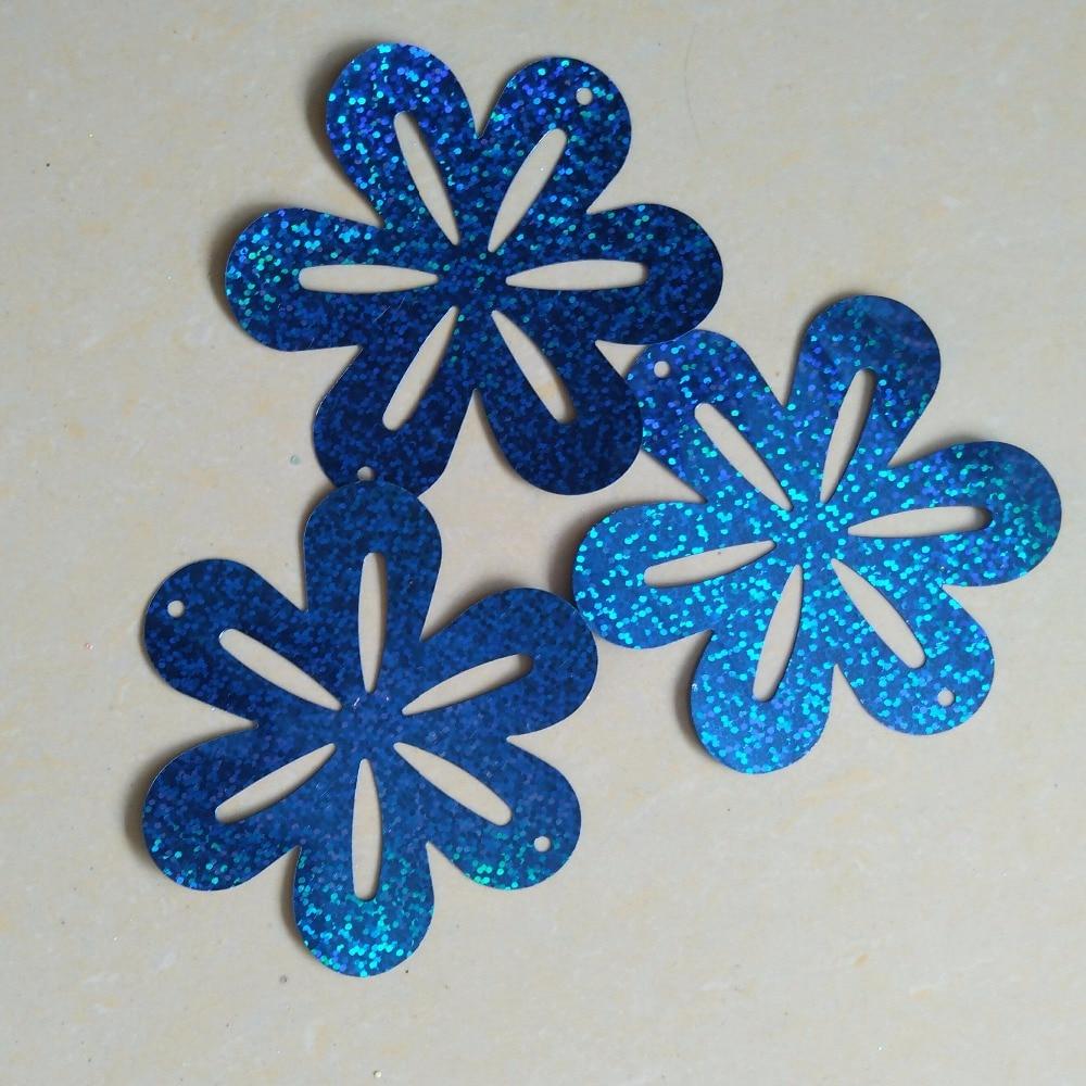 wholesale 86mm flower sequins for craft and decoration,hologram blue