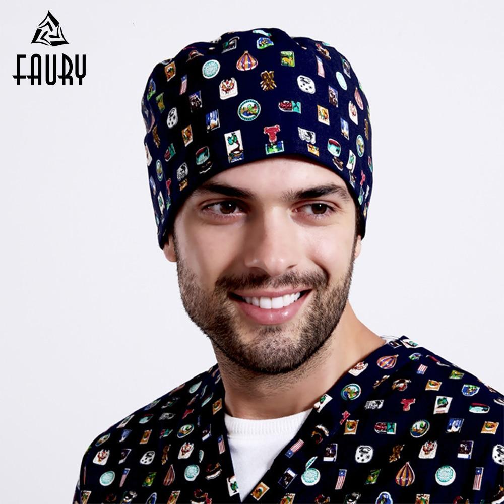 Unisex Adjustable Medical Scrubs Caps Short Hair Hospital Doctor Nurse Hats Scrub Lab Clinic Dental Operation Working Cap