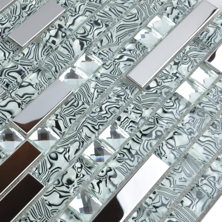 buy strip shell textured glass u0026 stainless steel mixed mosaic tiles kitchen backsplash tiles glass bathroom tiles in mosaic from reliable