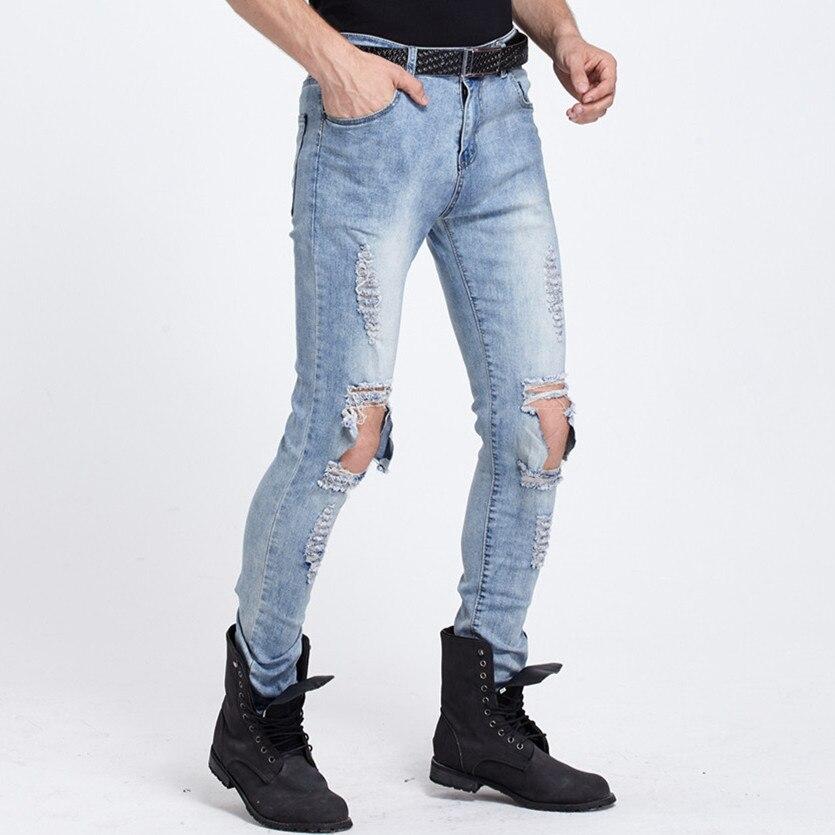 US $14.07 30% di SCONTO|Nuovo Arrivo Used Skinny Jeans Strappati Mens Grande Foro Sul Ginocchio Blu Vestiti Distruggere Refurtiva Streetwear Denim