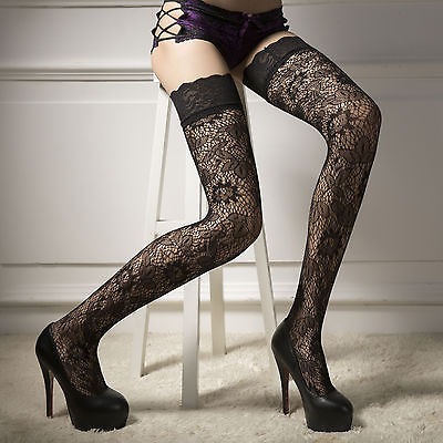 Hot Black Womens Sheer Lace Top Stay Up Thigh High Hold ups Stockings  Pantyhose-in Stockings from Underwear   Sleepwears on Aliexpress.com  d657d5abc
