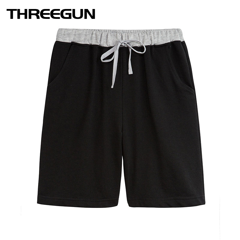THREEGUN 2018 Solid Mens Shorts Male Shorts Homme Brand Casual Loose Soft Boxers Bottoms Boxer Male Panties Drawstring Shorts