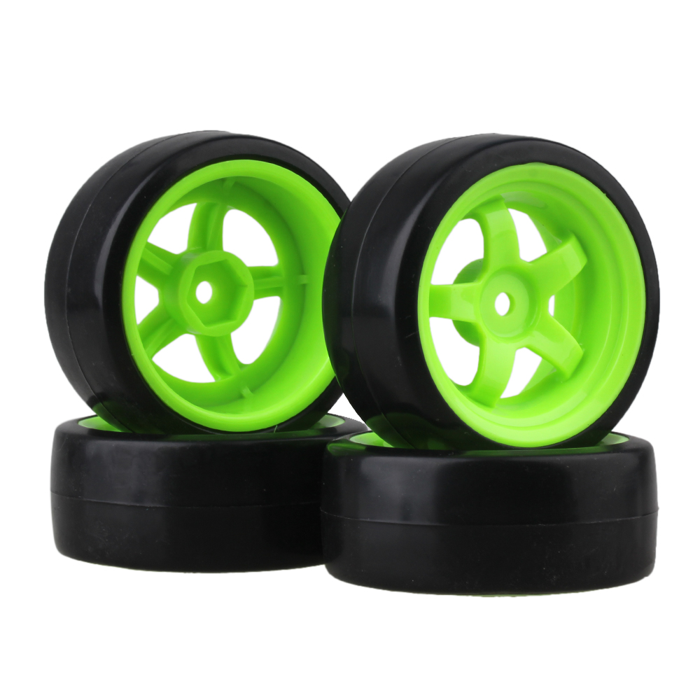 Mxfans 4x Plastic Tire with Green 5 Spoke <font><b>Wheel</b></font> Rim for <font><b>RC</b></font> 1:10 <font><b>Drift</b></font> Car Black Durable image