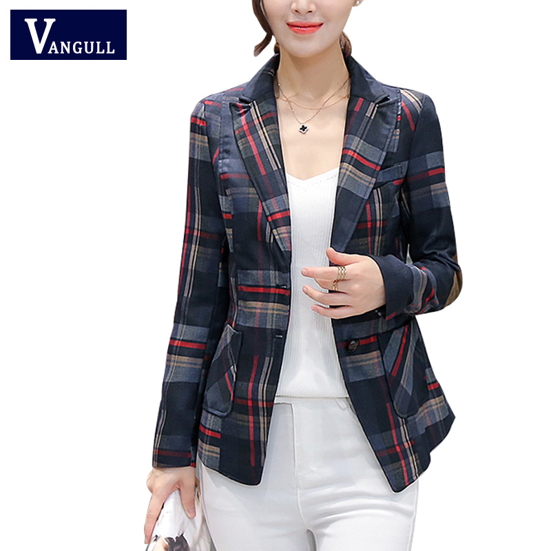 2017 Women Blazers & Jackets Blue Red Plaid Blazer Women blazer Coat Casual One Button Outerwear Short Blazer Feminino OL style