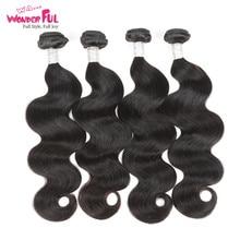 Remy Индийская Объемная Волна Наращивание Волос 100% Человеческих Волос Weave Связки 1/3/4 Шт.