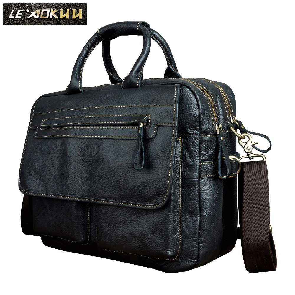 Men Real Leather Antique Style Large Capacity Briefcase Business 15.6