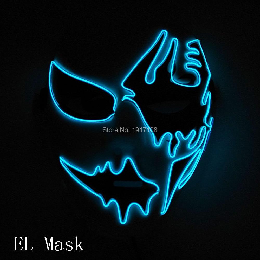 Großhandel 10 stücke halloween Maske 10 farben Wählen Cosplay Leuchten LED Maskentanz DJ Bar Nachtclub Für Parteidekoration - 5