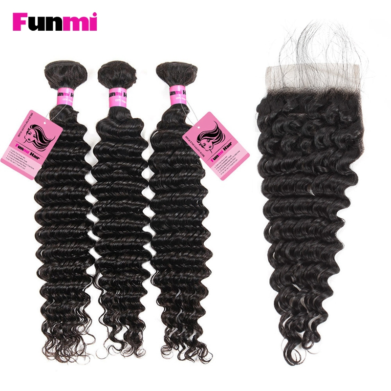 Funmi Indian Hair Bundles With Closure 3PCS Deep Wave Bundles With Closure Human Hair Bundles With Closure Tangle Free For