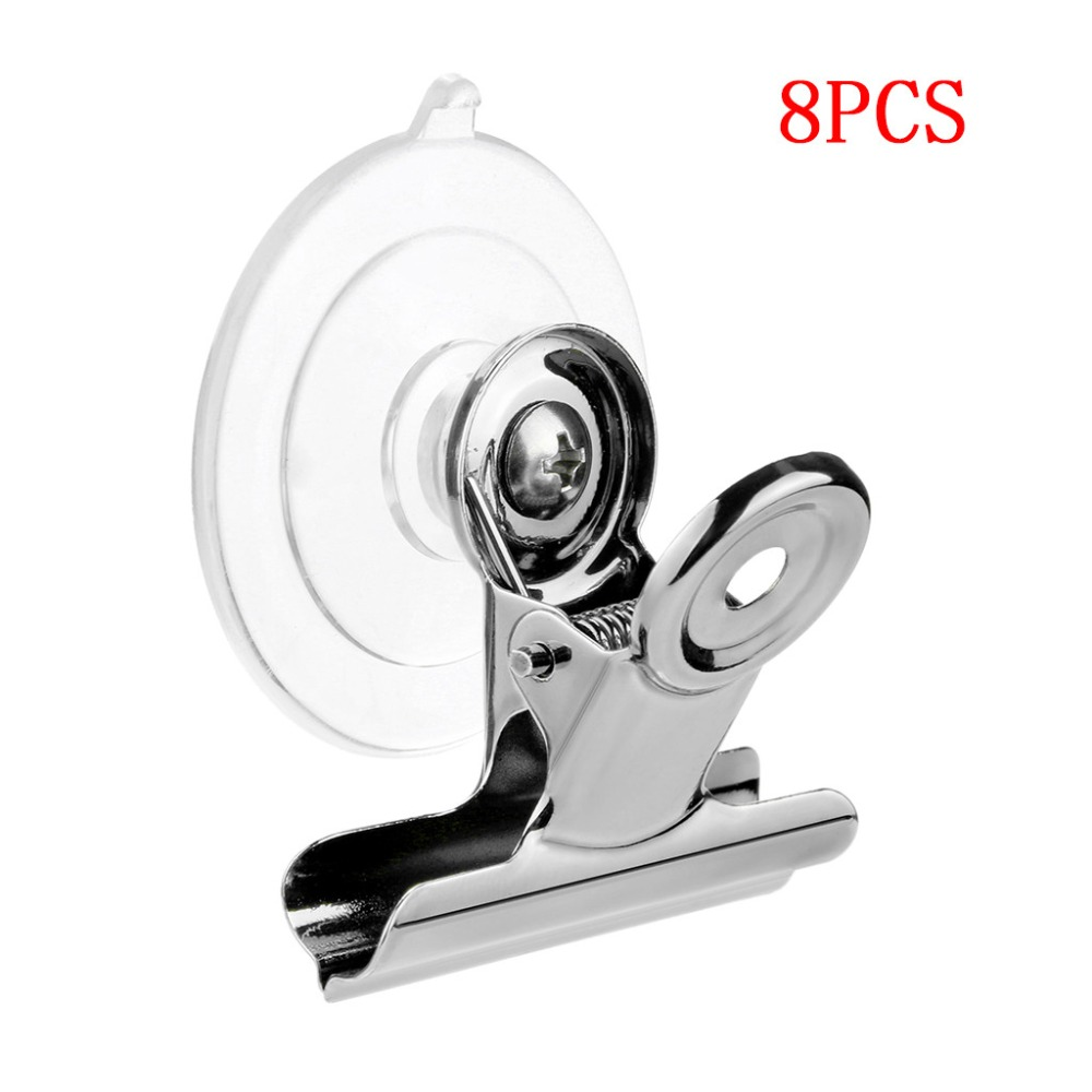 8pcs Suction-Cup Clip Plastic Round Suction Cup Clip Advertising Display Holder Stand Clamp Metal Clips folder Clipe klem Q2