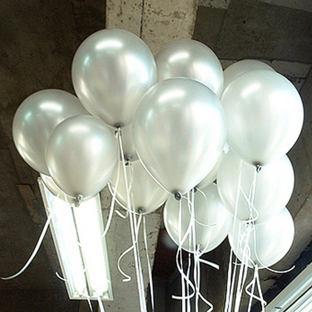10pcs/lot 10inch Thick 1.5g Silver Latex Balloon Inflatable Wedding Decorations Air Balls Happy Birthday Party Balloons Supplies