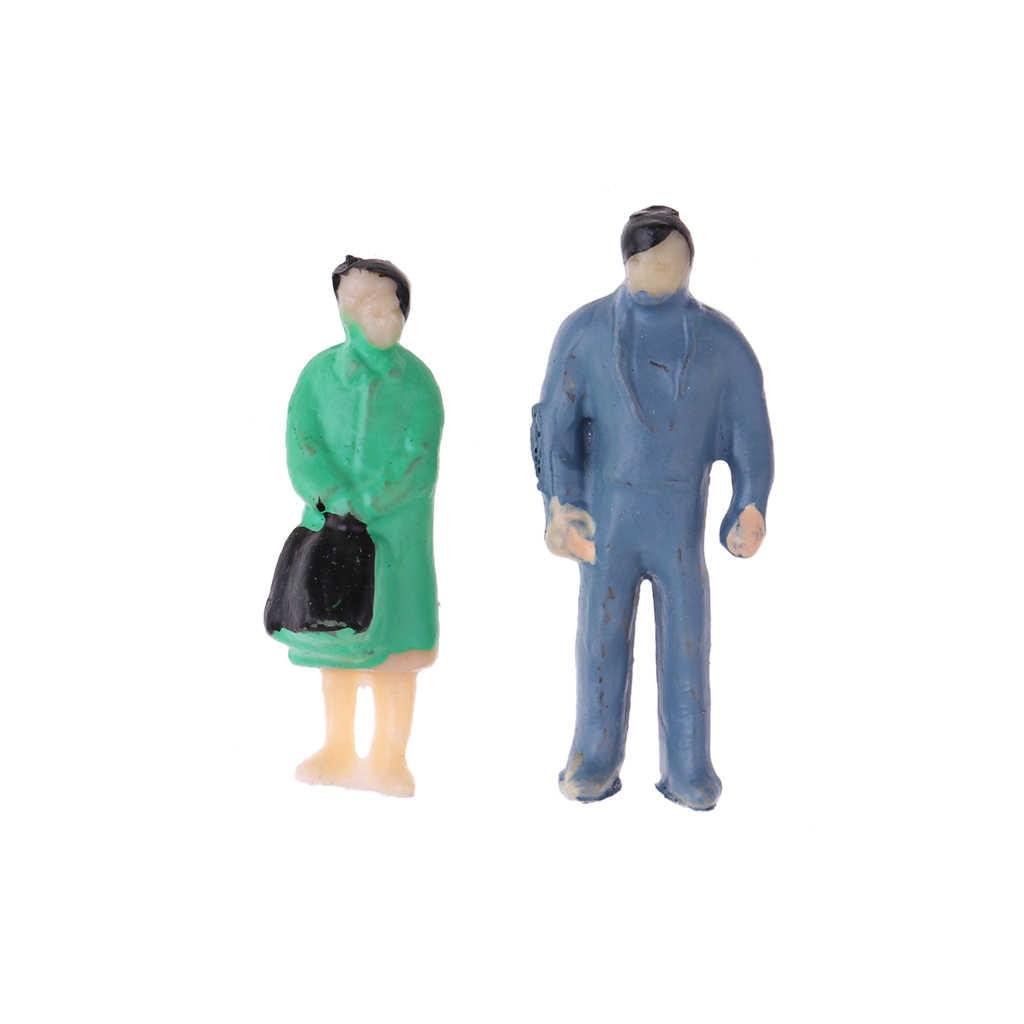 100x DIY Craft pociągu sceny układ pasażer ludzie figurki malowane Model 1: 87 HO skala zestaw modeli do składania zestaw Sup'plies