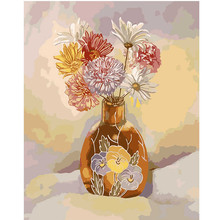 WONZOM Bloom Flowers Paint By Numbers Kit Home Decor Oil Painting On Canvas With Frame Wall Art For Living Room Acrylic