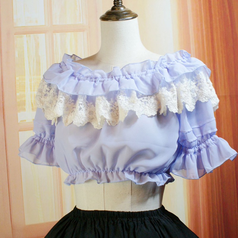 5 colors Fashion Summer Female Casual short shirts women Vintage Gothic lace Chiffon blouses Ladies lolita bottoming shirts tops