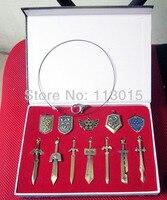 4 סטים\חבילה (12 יחידות בסט) סטי מחזיקי מפתחות האגדה של נשק זלדה קישור שרשרת חרבות ברונזה
