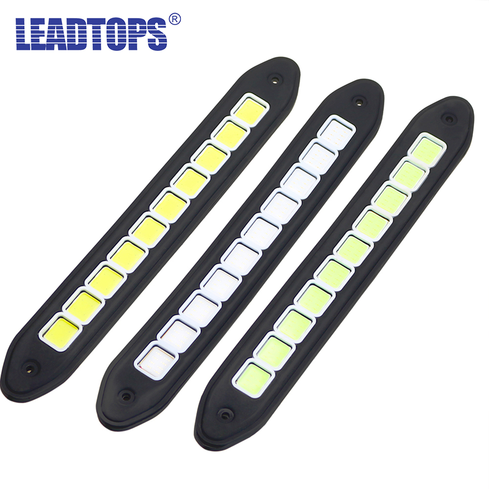 2PCS Flexible Waterproof White and Yellow Car Head Light COB LED Daytime Running Lights DRL Fog Lights With Turn Signal Light CJ flexible 3w 132lm 6 smd 5050 led white car decorative daytime running light 12v 2 pcs