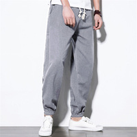 Plus Size M 5XL Casual Pants Men Cotton Linen Ankle Length Plain Solid Color Harem HipHop Baggy Fitness Joggers Wide Legs Pants