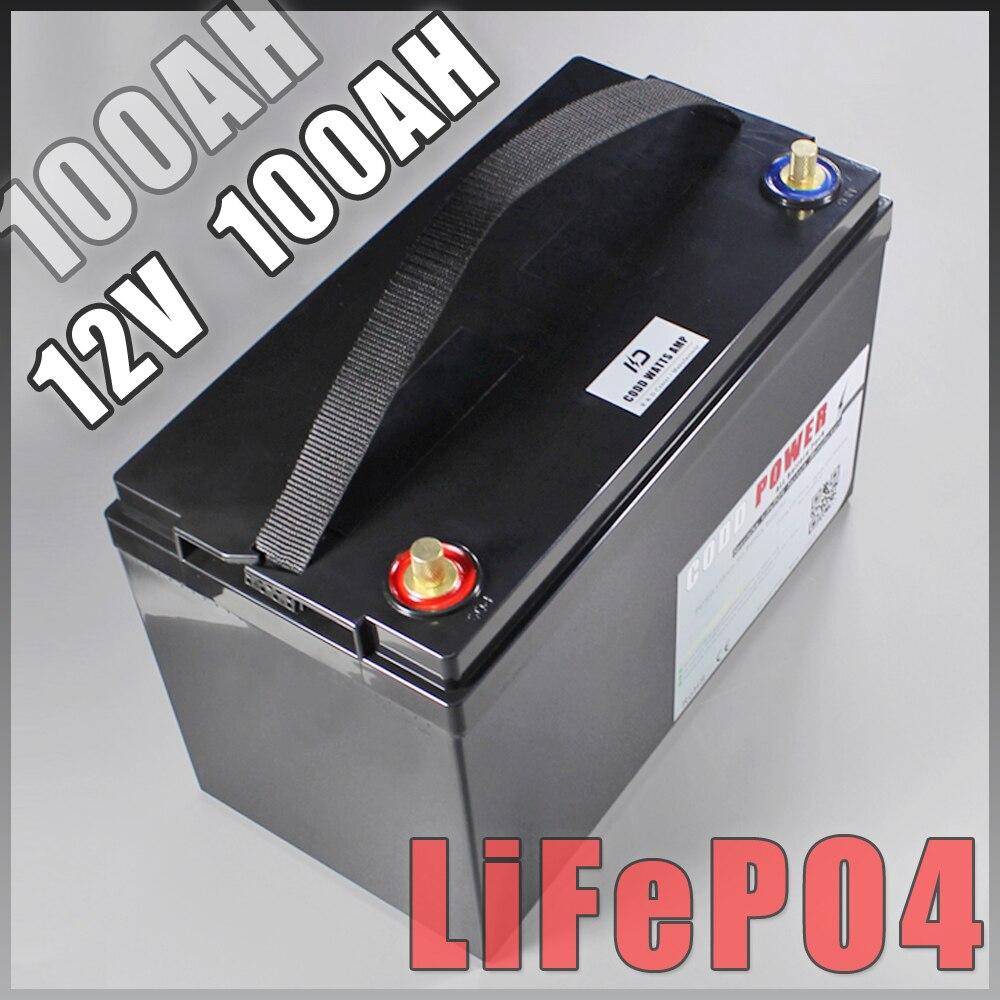 12 V 100AH lifepo4 batteria Con bms 10A Caricatore di campeggio di alimentazione di backup inverter CAMPER barca inverter luce Solare