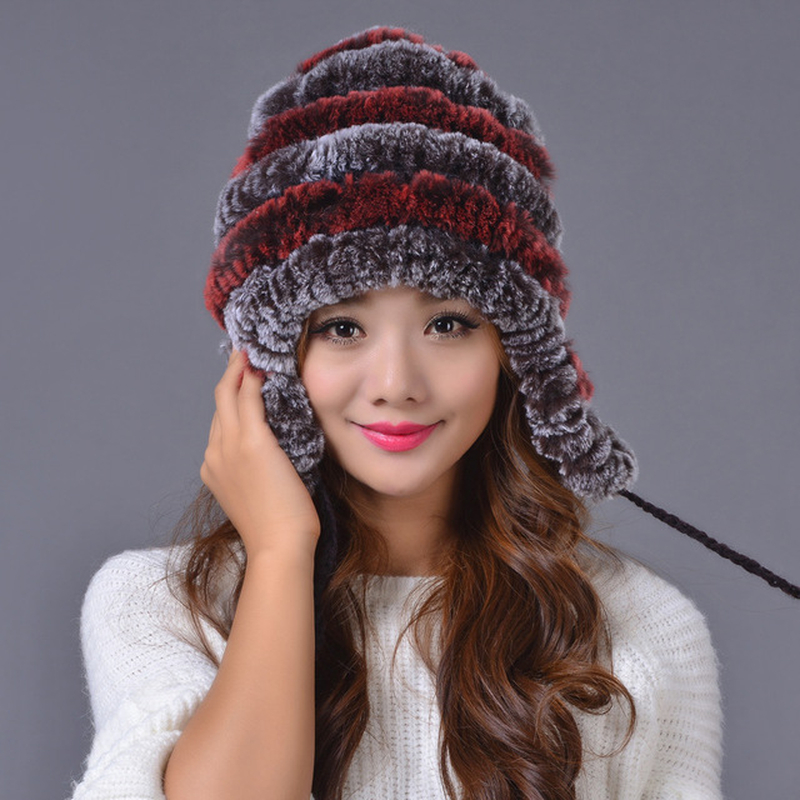 Maylooks Winter Beanies Fur Hat For Women Knitted Rex Raccoon Fur Hat With Warm Ear Protector Free Size Casual Women's Hat