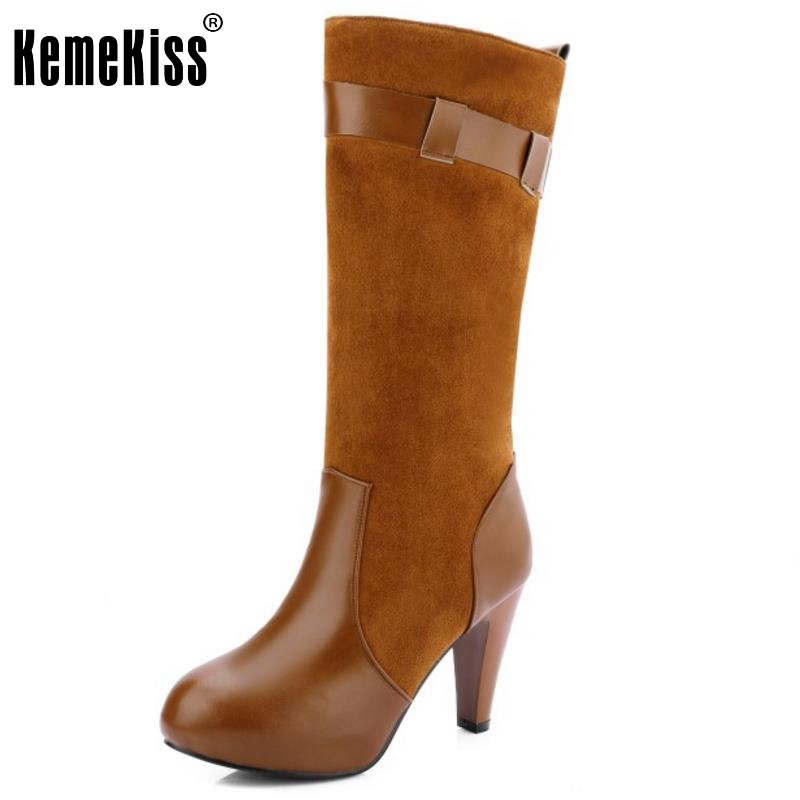 Women Round Toe Knee Boots Fashion Woman Spike Heel Knight Boot Female High Quality Buckle Heels Footwear Shoes Size 33-43 free shipping fashion dress women s spike heels high heel round toe fleece ankle boots large size us 4 19