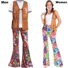 b0f44df946350 Erkek Kadın 60 s 70 s Hippi Disko Kostüm Elbise Bayanlar Hippy Fringe Tops  Çan Pantolon Parti Flare Elbise Kıyafet için Yetişkin.