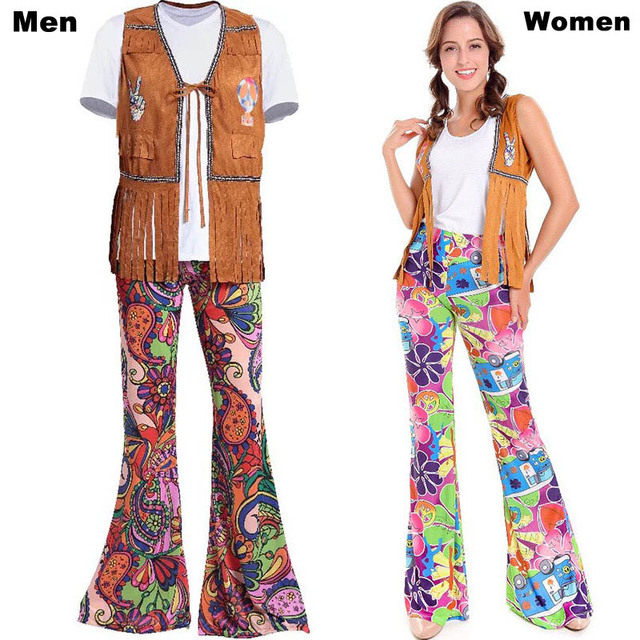 Men Women 60s 70s Hippie Disco Costume Clothes Ladies Hippy Fringe Tops Bell Pants Party Flare Dress Outfit For Adult Couples