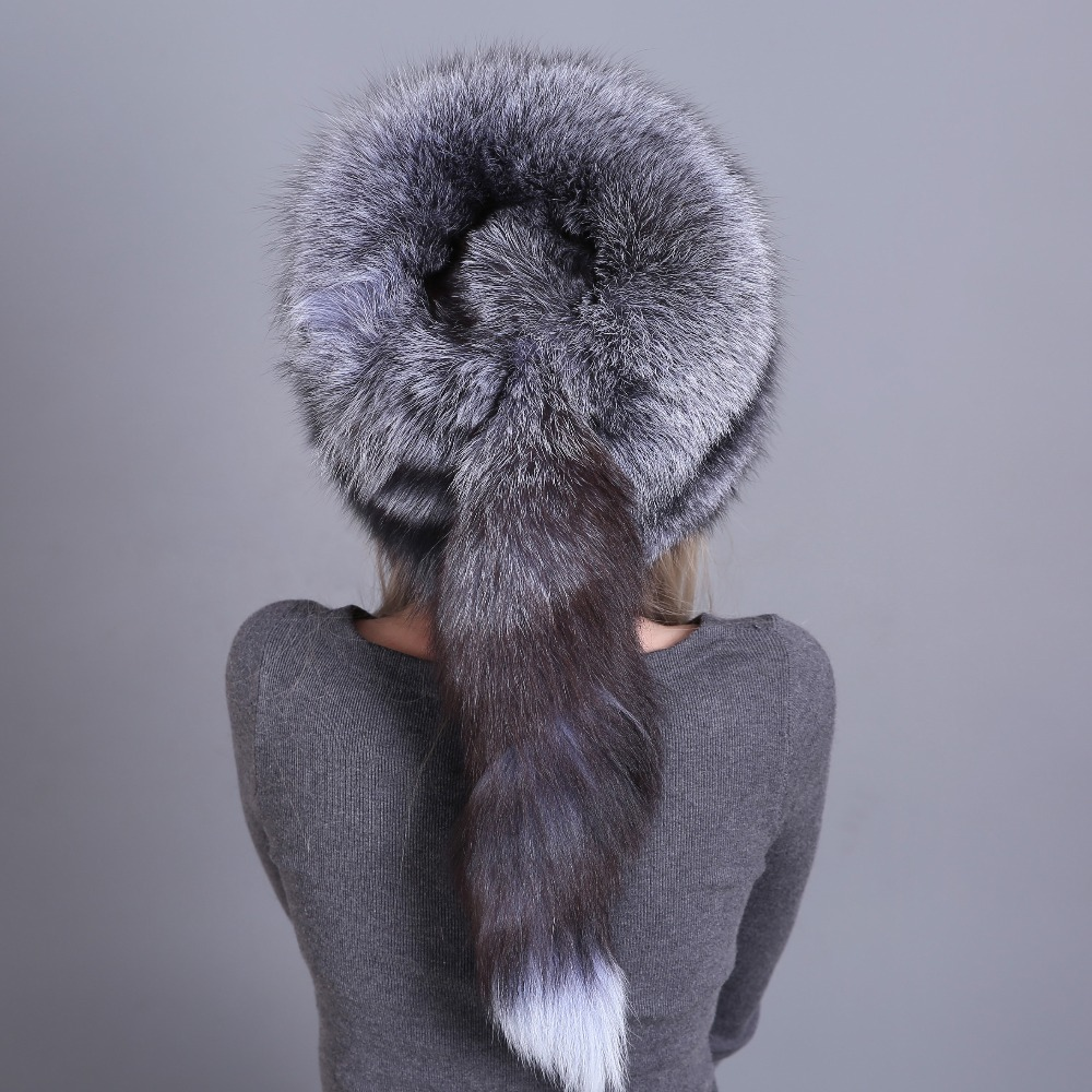 Image 3 - Hat Women's Winter Skullies Women Cap Warm Fur Pompom Thick Natural Fox Fur Cap Real Fur Hat Women Knitted Hat Female Cap-in Women's Skullies & Beanies from Apparel Accessories