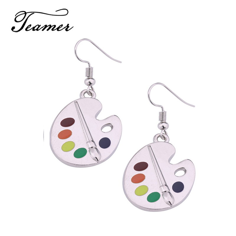 aa918aa66a74f US $2.53 15% OFF Teamer Silver Charm Color Artist's Palette Paint Plate  Dorp Dangle Earring Painter's Christmas Gift Drop Oil Earrings-in Drop ...