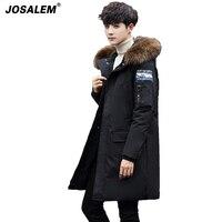 2017 New Winter Faux Fur Hooded Long Parkas Jacket Men Thicken Cotton Padded Warm Coat Outwear