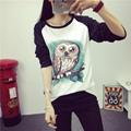 Kawaii Cartoon Owl Print Tshirt Women 2017 Spring Cotton Tops Black White Patchwork Women T-shirt Long Sleeve Tee Shirt Femme