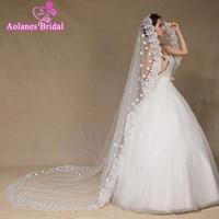 AOLANES Ivory Lace Wedding Veil Bridal Veil 3 Meters Cathedral Long Wedding Veils Veu De Noiva Wedding Accessories 2018
