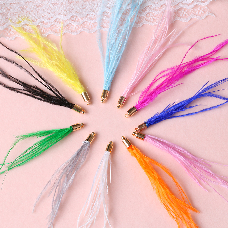 12pc/lots L9cm Colorful Natural Feathers Ostrich Plumes Tassels Pendants For Crafts Women Earrings Jewelry Making Diy Decoration