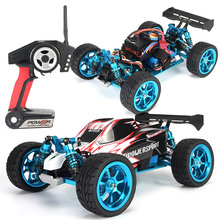 цены RC Car WLtoys A959-B 2.4G 1/18 Scale Remote Control Off-road Racing Car High Speed Stunt SUV Upgraded metal brushless plate